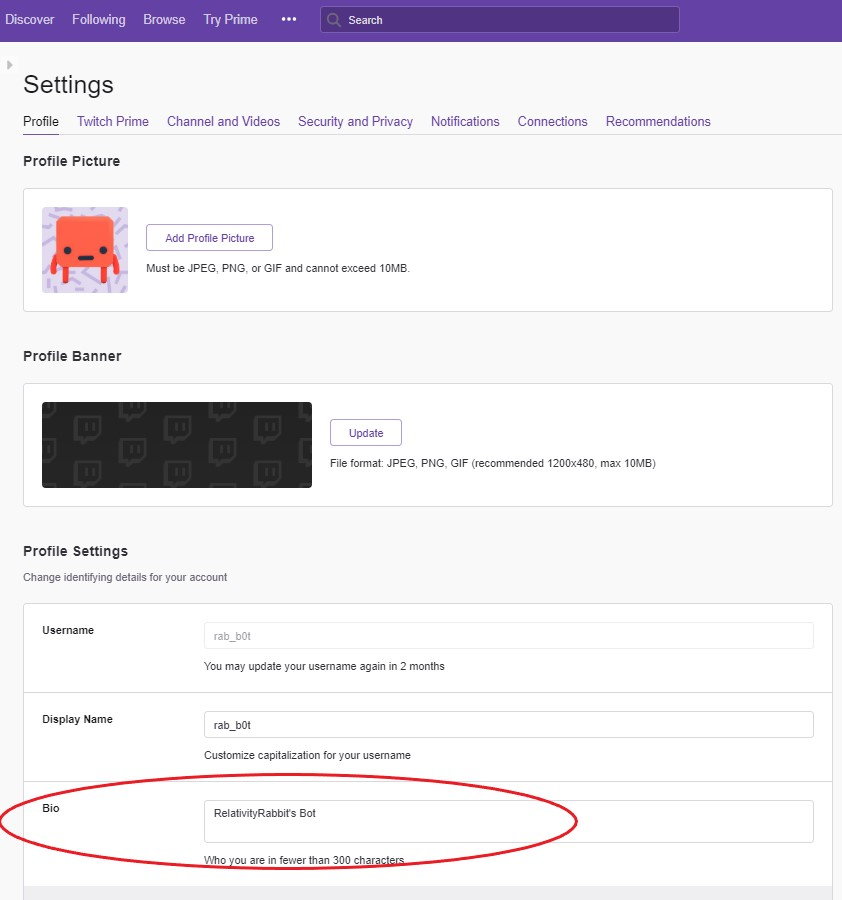 How to setup your Twitch profile - RelativityRabbit